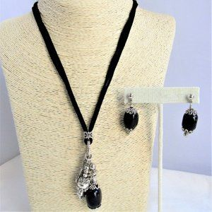 Silver Charms Onyx Gemstone Necklace & Earrings